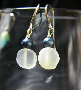 White Moonstone, Blue Pearl, Silver Earrings - Leila Haikonen Jewellery