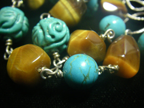 Huge Turquoise, Gold Tiger Eye, Silver Chain Necklace - Leila Haikonen Jewellery