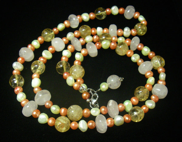 Rose Quartz, Citrine, Pearls, Sterling Silver Necklace - Leila Haikonen Jewellery - 4