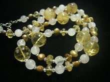 Golden Citrine, Rose Quartz & Pearl Silver Necklace - Leila Haikonen Jewellery