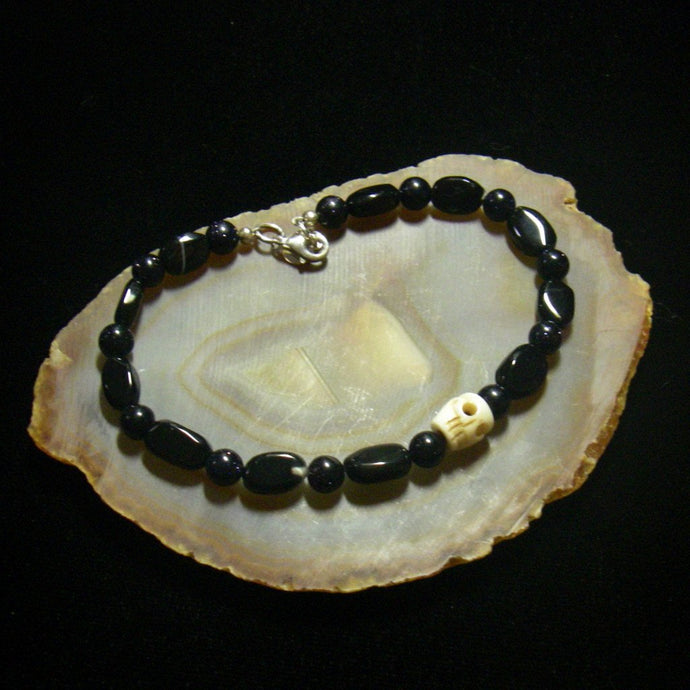 Black Goldstone, Smoky Quartz, Bone Skull Sterling Silver Bracelet - Leila Haikonen Jewellery