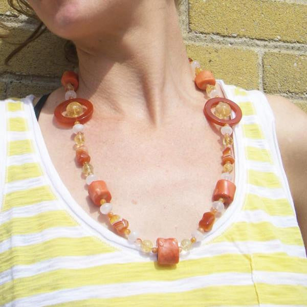 Carnelian, Coral, Citrine, Rose Quartz, Silver Necklace - Leila Haikonen Jewellery - 8