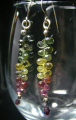 Multi Coloured Tourmaline Briolette Silver Earrings