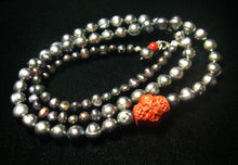Black Pearls, Red Coral Carving, Sterling Silver Necklace - Leila Haikonen Jewellery