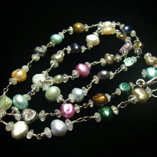 Gorgeous Colored Pearls, White Moonstone, Silver Necklace - Leila Haikonen Jewellery