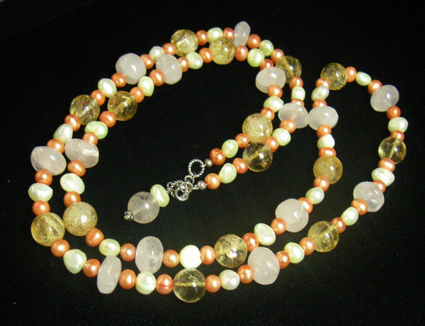 Rose Quartz, Citrine, Pearls, Sterling Silver Necklace - Leila Haikonen Jewellery - 6
