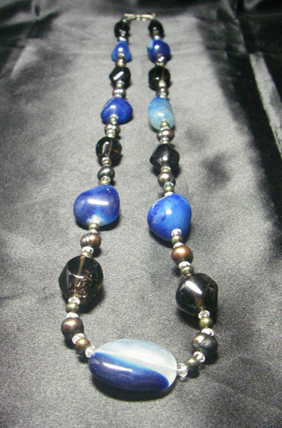 Blue Chalcedony, Smoky Quartz, Pearls, Silver Necklace - Leila Haikonen Jewellery