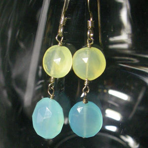 Blue Chalcedony, Yellow Chalcedony, Sterling Silver Earrings - Leila Haikonen Jewellery