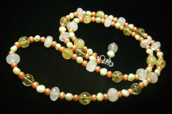 Rose Quartz, Citrine, Pearls, Sterling Silver Necklace - Leila Haikonen Jewellery - 3