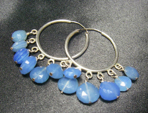 Bright Blue Chalcedony, Silver Hoop Earrings - Leila Haikonen Jewellery