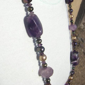 Luxurious Amethyst & Pearls Silver Necklace - Leila Haikonen Jewellery - 5