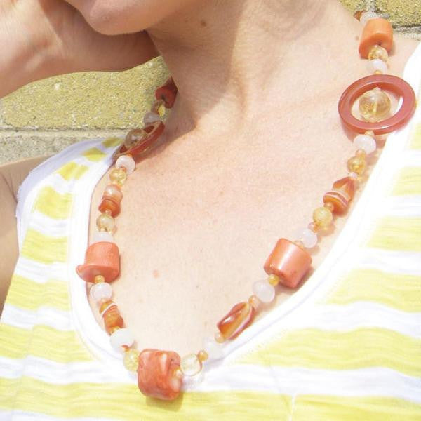 Carnelian, Coral, Citrine, Rose Quartz, Silver Necklace - Leila Haikonen Jewellery - 5
