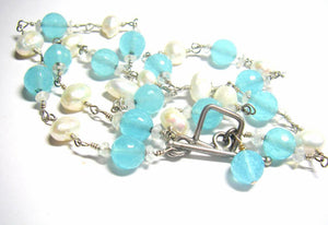 Blue Chalcedony, White Pearls, Sterling Silver Necklace - Leila Haikonen Jewellery