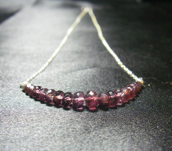 Violet Purple Spinel, Silver Chain Necklace - Leila Haikonen Jewellery