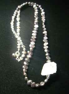 Black Pearls, White Quartz Carving, Sterling Silver Necklace - Leila Haikonen Jewellery