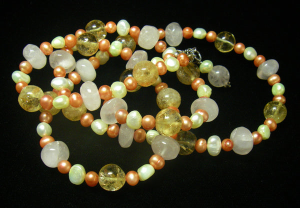 Rose Quartz, Citrine, Pearls, Sterling Silver Necklace - Leila Haikonen Jewellery - 2