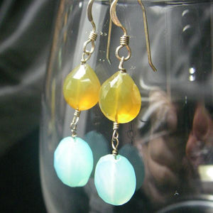 Aqua & Honey Chalcedony Silver Earrings - Leila Haikonen Jewellery