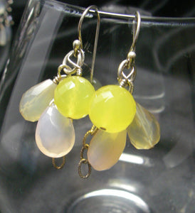 Yummy Yellow & Lilac Chalcedony Silver Earrings - Leila Haikonen Jewellery