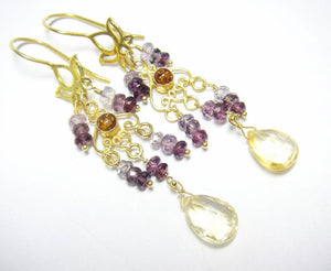 Purple Spinel, Citrine Earrings 24k Gold Vermeil over Sterling Silver - Leila Haikonen Jewellery
