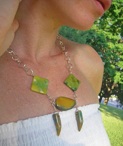 Tribal Yellow Green Agate, Silver Chain Necklace - Leila Haikonen Jewellery