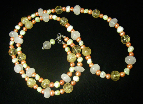 Rose Quartz, Citrine, Pearls, Sterling Silver Necklace - Leila Haikonen Jewellery - 5