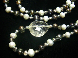Black, Silver Pearls, Clear Quartz, Sterling Silver Necklace - Leila Haikonen Jewellery