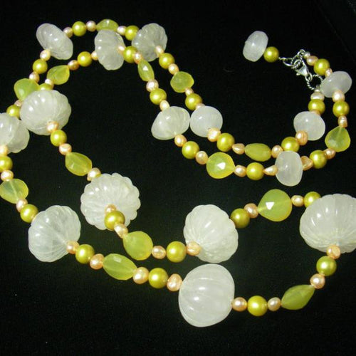 Rose Quartz, Yellow Chalcedony, Pearls, Sterling Silver Necklace - Leila Haikonen Jewellery