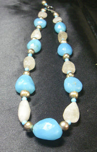 Blue Chalcedony, Rutilated Quartz, Pearl, Turquoise, Silver Necklace - Leila Haikonen Jewellery