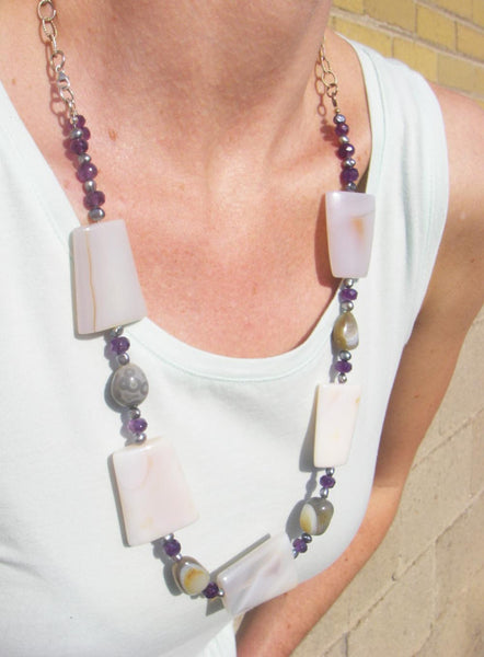 Grey Agate, Amethyst, Black Pearls, Silver Chain Necklace - Leila Haikonen Jewellery - 3