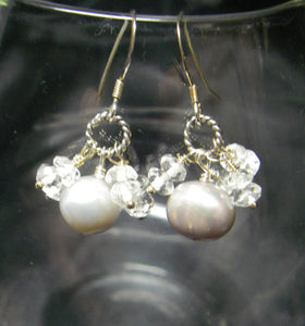 Silver Pearl, White Quartz, Silver Earrings - Leila Haikonen Jewellery