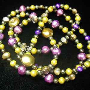 Purple, Yellow, Olive Pearls, Sterling Silver Necklace - Leila Haikonen Jewellery