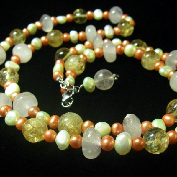 Rose Quartz, Citrine, Pearls, Sterling Silver Necklace - Leila Haikonen Jewellery - 1