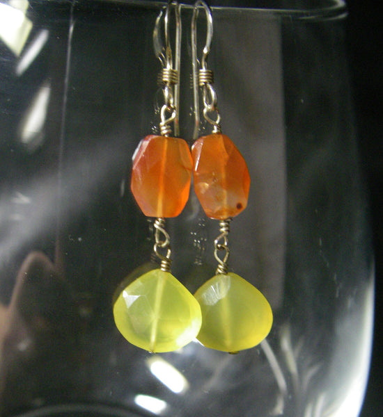 Carnelian, Yellow Chalcedony, Sterling Silver Earrings - Leila Haikonen Jewellery