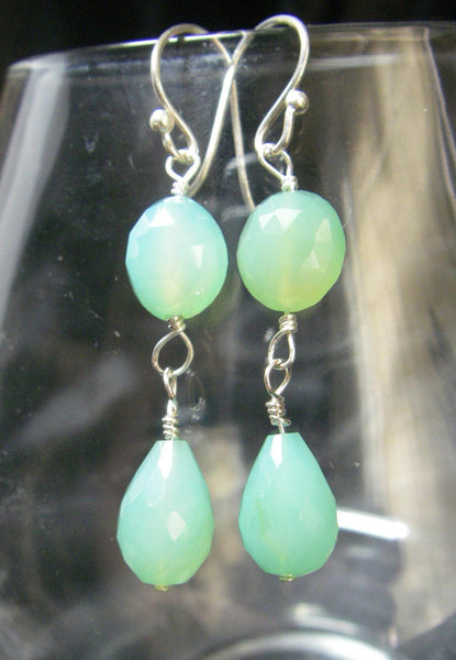 Aqua Chalcedony Drop Silver Earrings - Leila Haikonen Jewellery - 6