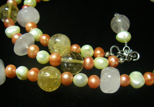 Rose Quartz, Citrine, Pearls, Sterling Silver Necklace - Leila Haikonen Jewellery