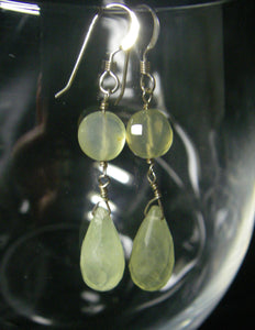 Prehnite, Yellow Chalcedony, Sterling Silver Earrings - Leila Haikonen Jewellery