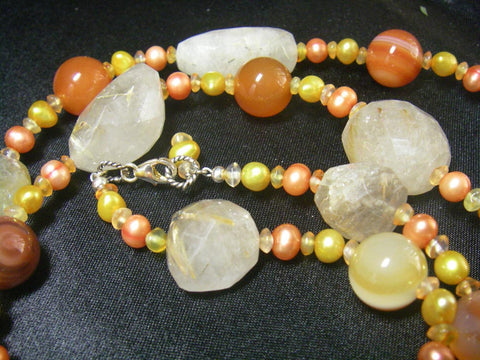 Rutilated Quartz, Carnelian, Pearl, Silver Necklace