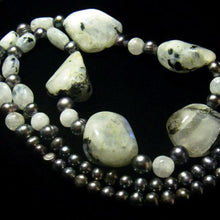 Moonstone & Black Pearl Silver Necklace - Leila Haikonen Jewellery