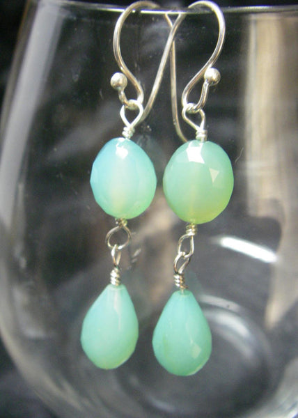 Aqua Chalcedony Drop Silver Earrings - Leila Haikonen Jewellery - 5