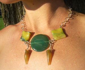 Tribal Green Yellow Agate, Silver Chain Necklace - Leila Haikonen Jewellery