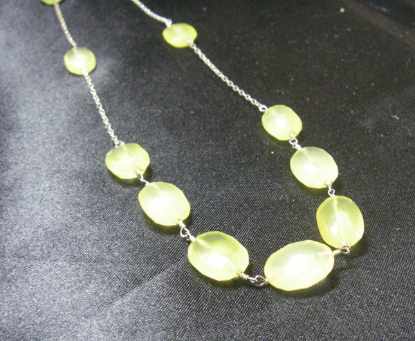 Yellow Chalcedony, Silver Chain Necklace - Leila Haikonen Jewellery