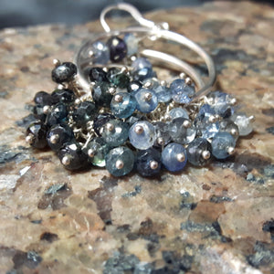 Blue Sapphire & Silver Hoop Earrings - Leila Haikonen Jewellery