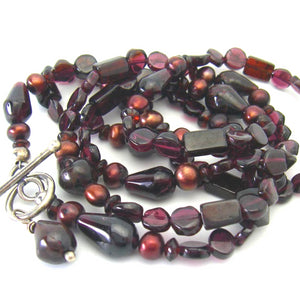 Red Garnet, Red Pearls, Long Silver Necklace - Leila Haikonen Jewellery