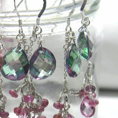Pink & Green Mystic Topaz Earrings - Leila Haikonen Jewellery