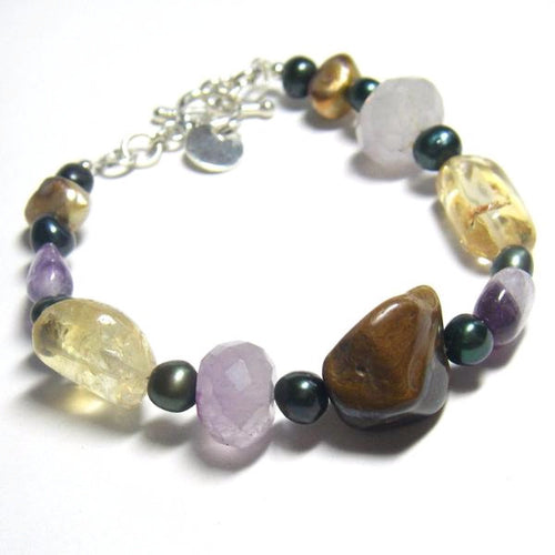Lovely Pearl, Amethyst, Citrine, Tiger Eye Silver Bracelet - Leila Haikonen Jewellery