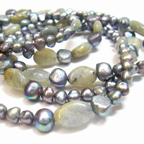 Labradorite, Black Pearl Necklace