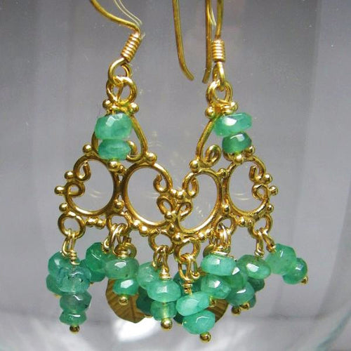 Emerald Earrings 24k Gold Vermeil over Sterling Silver - Leila Haikonen Jewellery