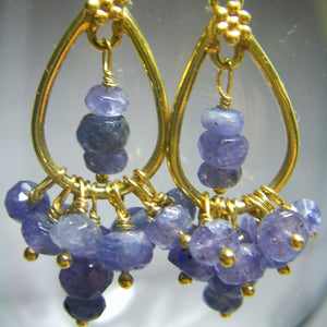 Tanzanite Earrings 24k Gold Vermeil over Sterling Silver - Leila Haikonen Jewellery