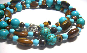 Luxurious Turquoise, Tigers Eye Long Silver Necklace - Leila Haikonen Jewellery
