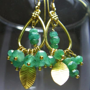 Emerald Earrings 24k Gold Vermeil over Sterling Silver Leaf - Leila Haikonen Jewellery